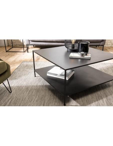 table basse industrielle en metal noir berlioz