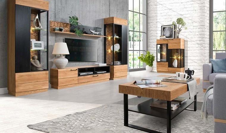 meuble tv finition chene et noir design tika