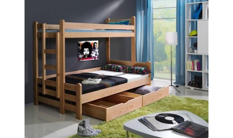 lit superpose en bois 2 places avec 1 grand couchage timeo