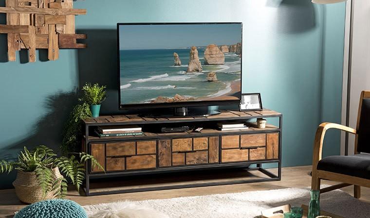 meuble tv en metal noir et teck recycle thekku