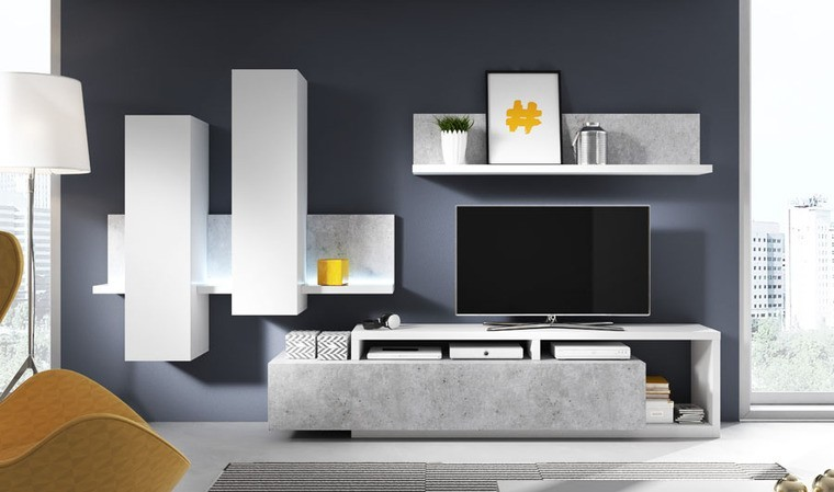 ensemble tv design blanc et beton bogota