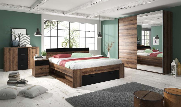 lit 180x200 chene fonce avec tiroir huelva