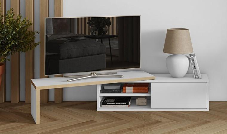 Meuble Tv Extensible Blanc Tablette Coulissante Design Et Pratique