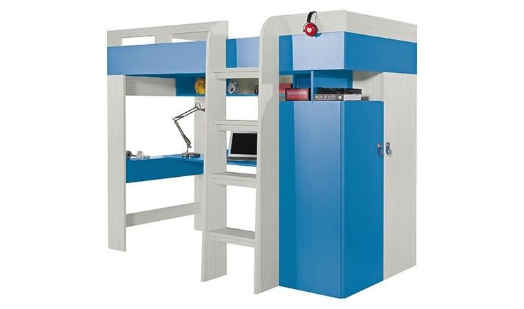 lit combine bleu bureau et armoire axel