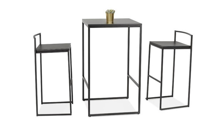 table bar carree industrielle noire dundee