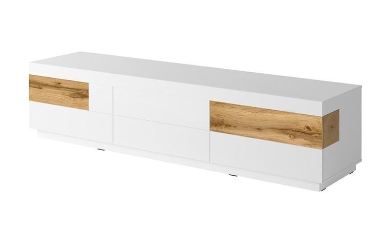 meuble tv 6 tiroirs long et bas blanc vigo