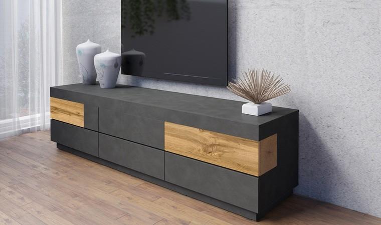 meuble tv 6 tiroirs couleur noire et chene vigo