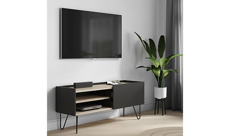 meuble tv noir avec porte coulissante olympe