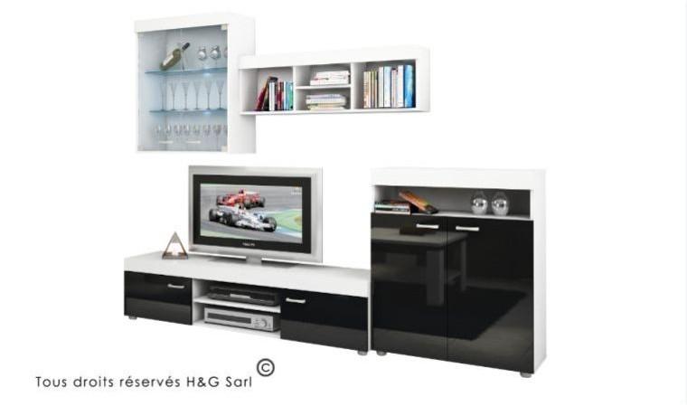 ensemble meuble tv mural sky noir et blanc