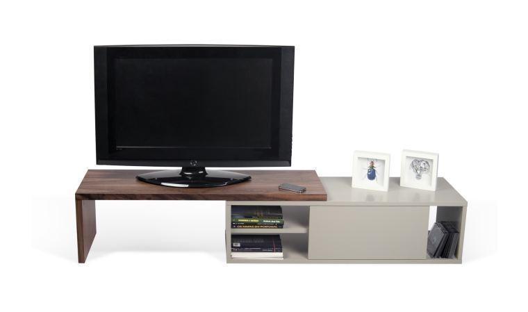 meuble tv modulable coloris gris et noyer move