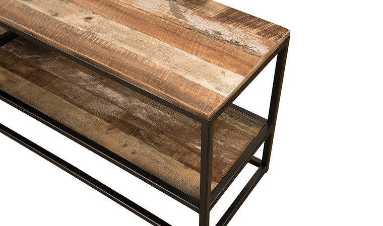 meuble tv en bois recycle et metal industriel thekku