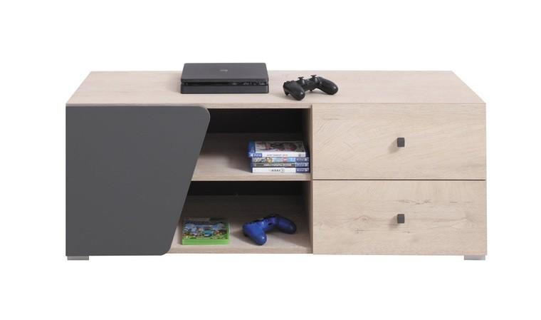 petit meuble tv finition chene et anthracite island