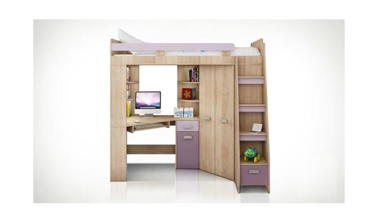 lit en hauteur avec bureau et armoire young violet