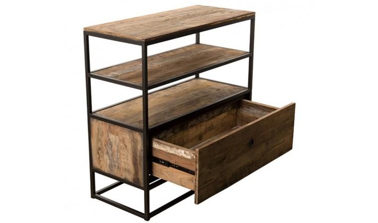 meuble etagere en bois recycle et metal thekku