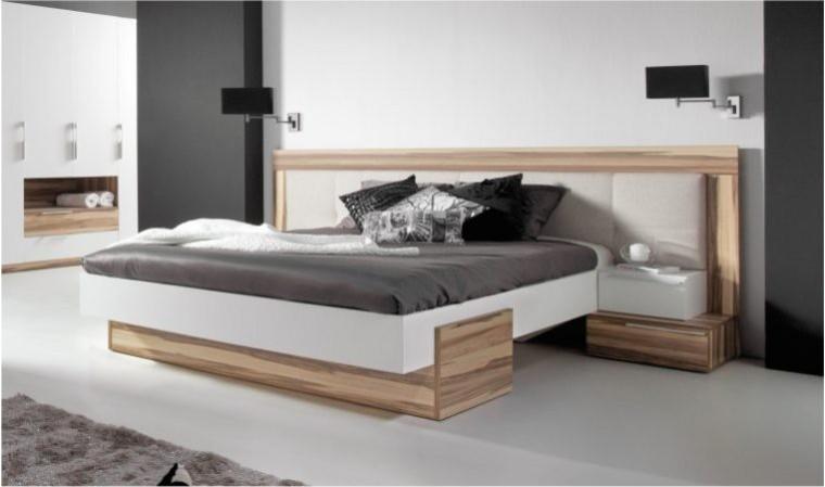 lit design blanc et couleur bois white
