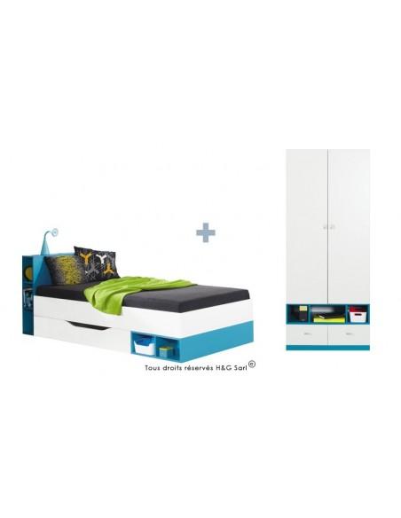 lit ado avec armoire 2 portes jolly bleu