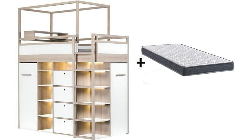 lit ado combine avec dressing amovible droite spot blanc