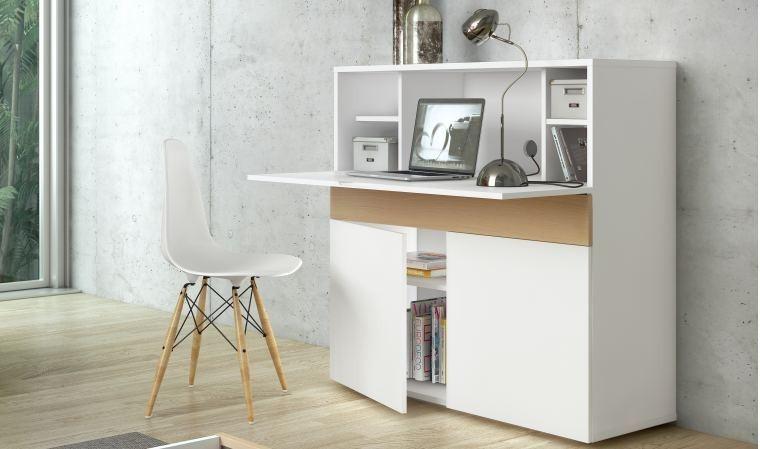 meuble secretaire design blanc et chene focus