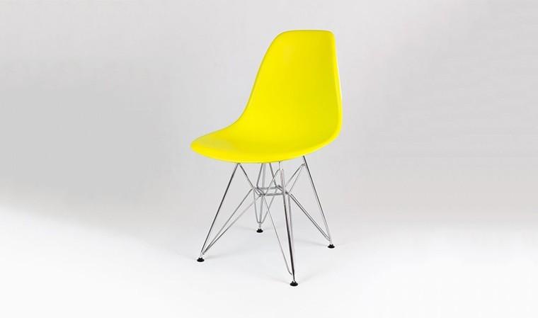 lot chaises design jaune pieds chromes style eiffel