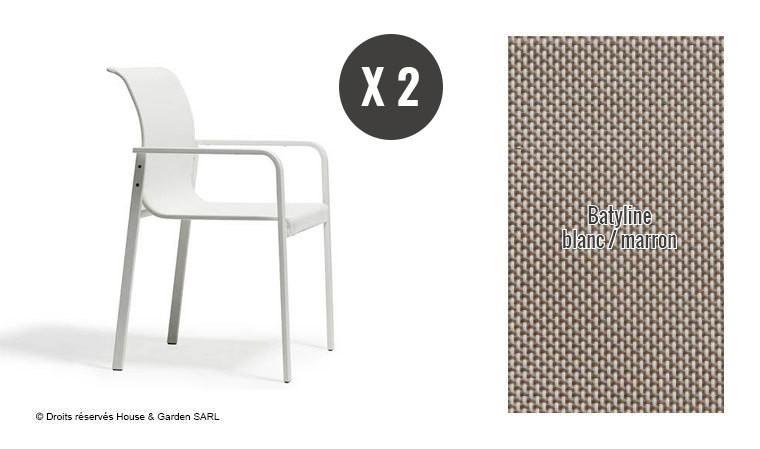 lot de fauteuils de jardin design inox blanc puro