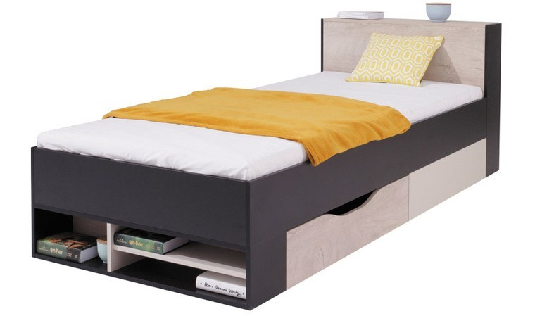 lit enfant noir avec rangements 90 x 200 cm neptune