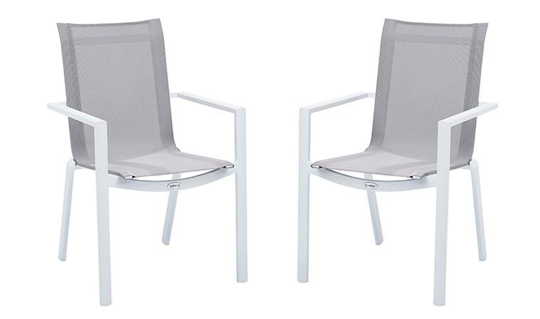 fauteuil de jardin blanc et assise grise whitestar