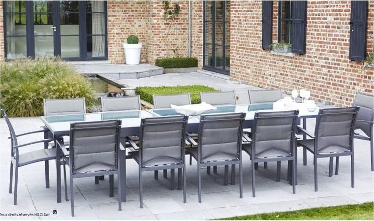 table de jardin extensible 8 12 couverts gris anthracite modulo