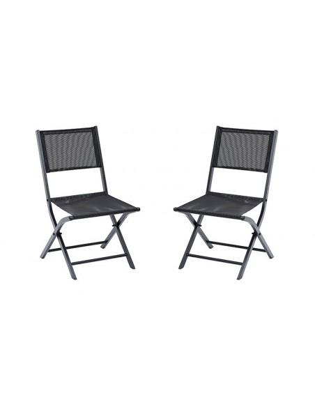 lot de chaises pliantes noires en alu et textilene modulo