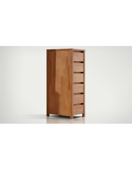 commode haute et etroite en bois massif 6 tiroirs vinci