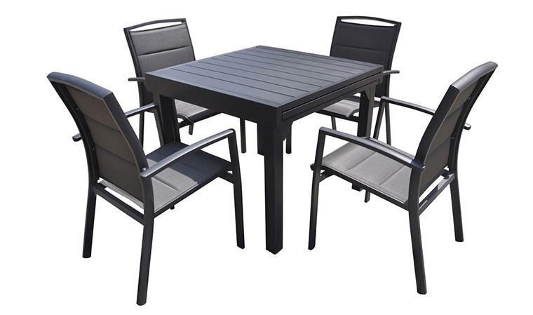 salon jardin extensible alu anthracite 4 fauteuils modulo