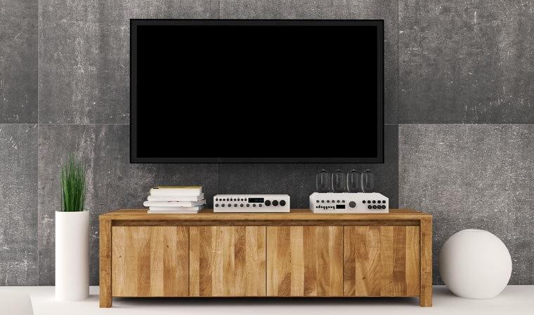 meuble tv bas en bois chene massif kauffman 2