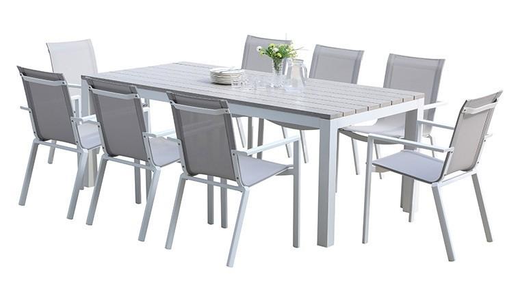 salon repas de jardin 8 fauteuils blanc et bois gris tampa