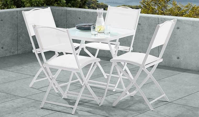 ensemble blanc petite terrasse 1 table 4 chaises catane