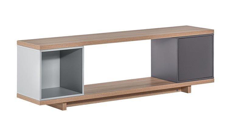 meuble tv avec box de rangement gris bleu balance