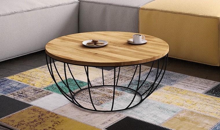 table basse ronde en chene massif 80 cm yucatan