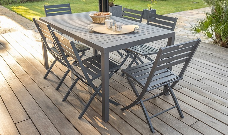 salon jardin table miami et 6 chaises pliantes marius