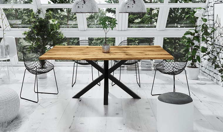 table en chene massif et pied central en metal woody 1
