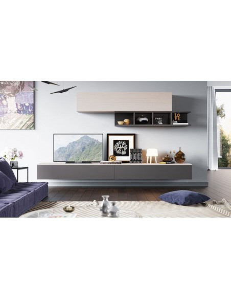 meubles muraux pour salon tv bois clair gris espace 106