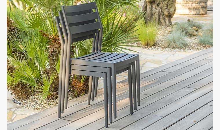 chaise jardin empilable aluminium anthracite gabin