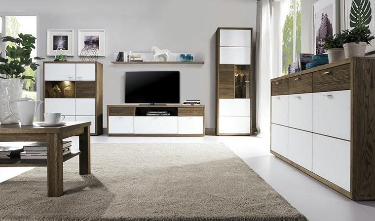meuble vitrine finition bois et verre blanc aspen