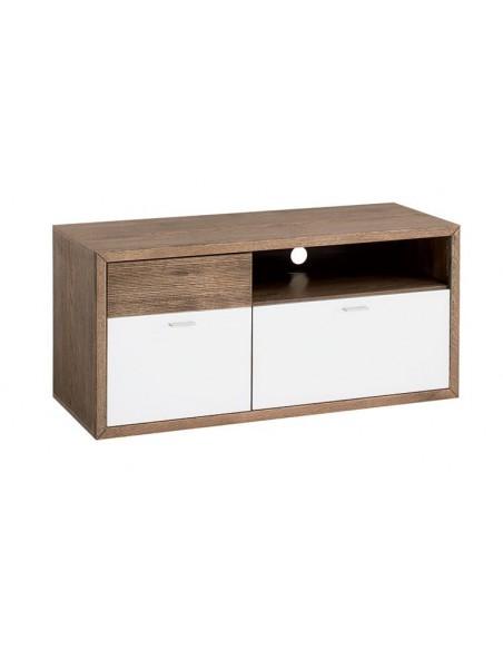 meuble tv finition verre blanc et bois 120 cm aspen