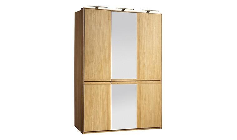 armoire placage chene brosse 3 portes dont 1 avec miroir atlanta