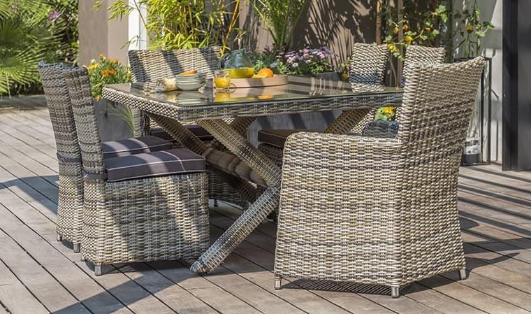 salon jardin table en resine tressee 6 places bali