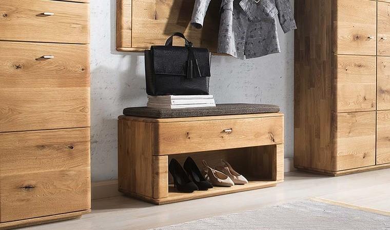 banc meuble chaussure chene massif 1 tiroir braga
