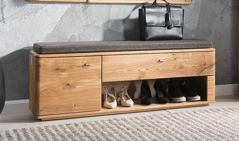banc meuble chaussure chene massif 1 tiroir et 1 porte braga
