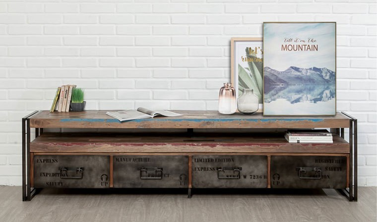 grand meuble tv indus en teck recycle et metal 180 cm york