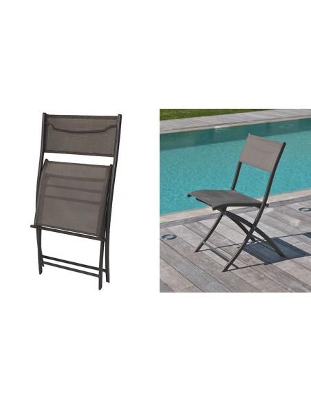 chaise pliante de jardin aluminium textilene cappuccino