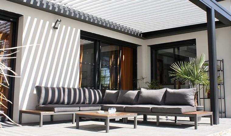 salon de jardin d angle aluminium et teck nagano