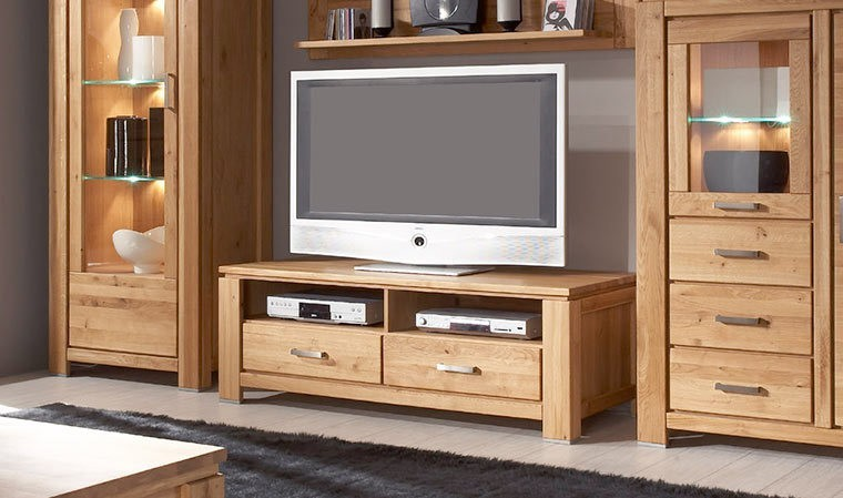 meuble tv placage chene 2 niches 2 tiroirs faro