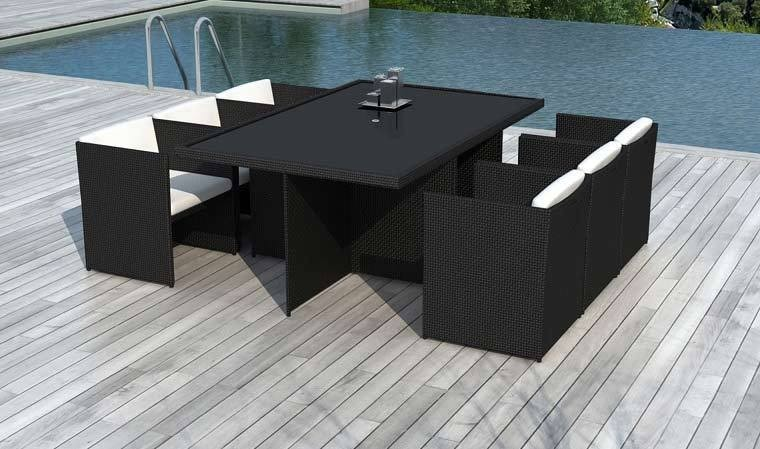 salon de jardin 6 fauteuils encastrables noir